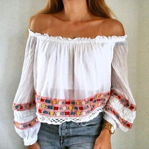 Free People White Off The Shoulder Boho Blouse Top